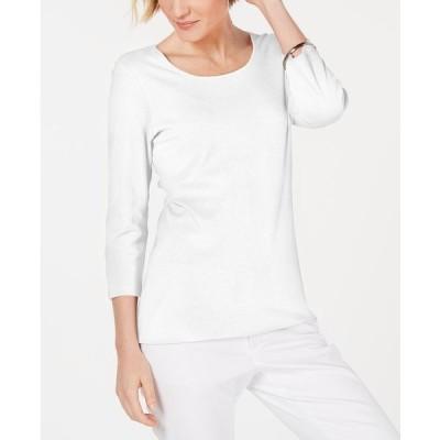 ケレンスコット カットソー トップス レディース Cotton Scoop-Neck Top, Created for Macy's Bright White