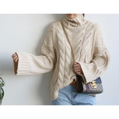 ケーブル編み オーバーサイズ タートルネック ニット セーター ゆる袖 ざっくり 大人カジュアル 秋 冬 ファッション 2018