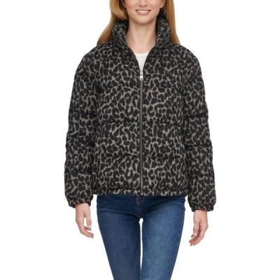 リーバイス Levi's レディース ダウン・中綿ジャケット アウター Wool Blend Bubble Puffer Jacket Charcoal Leopard