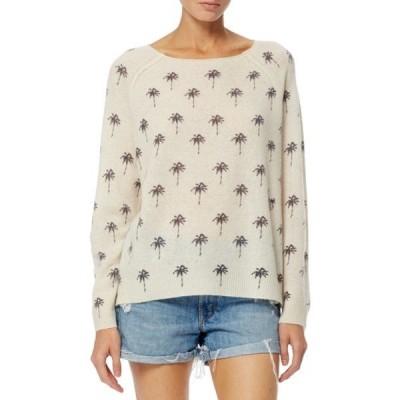 360カシミア レディース ニット&セーター アウター Zane Palm Print Cashmere Sweater WHITE/CHARCOAL