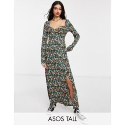 エイソス レディース ワンピース トップス ASOS DESIGN Tall wrap front long sleeve split front maxi in bright ditsy floral print Di