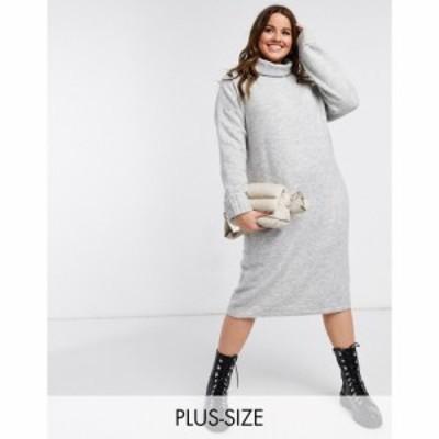 ヴェロモーダ Vero Moda Curve レディース ワンピース ワンピース・ドレス jumper dress with roll neck in light grey marl ライトグレ