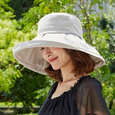 ベルーナ UVカット付日傘のようなつば広帽子<UVカット率99%> ブルーグレー 1 レディース