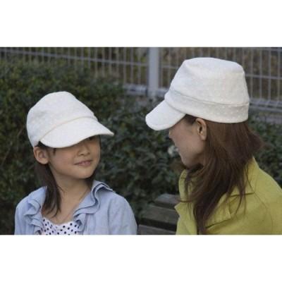 水玉織りのキャップ レディース帽子 秋冬  コットン/ウール オフホワイト