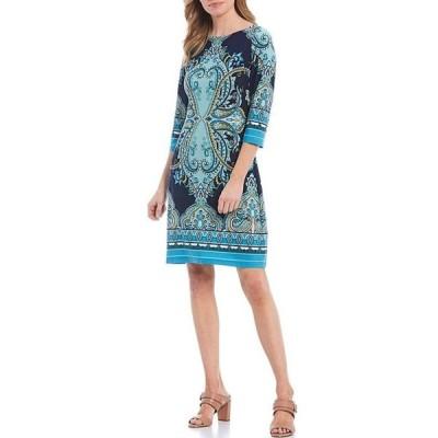 ロンドンタイムス レディース ワンピース トップス Printed Jersey 3/4 Sleeve Shift Dress