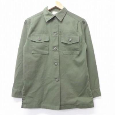古着 レディース 長袖 ミリタリー シャツ 70年代 70s ユーティリティ USA製 緑 グリーン 中古 ブラウス トップス シャツ トップス 古着