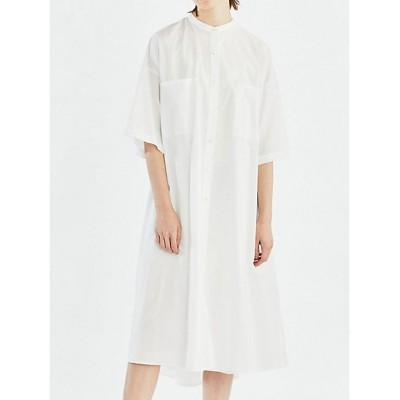 <mizuiro ind(Women)/ミズイロインド> 胸ポケット付きロングワンピース オフホワイト(11)【三越伊勢丹/公式】