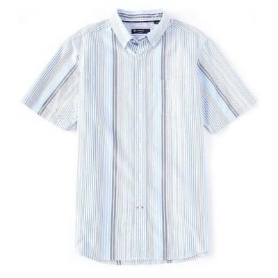 クレミュ メンズ シャツ トップス Multi-Color Stripe Oxford Short-Sleeve Woven Shirt Vista Blue