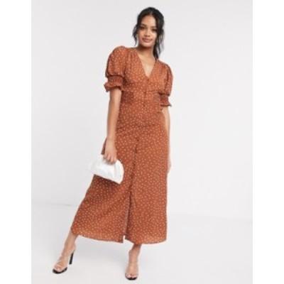エイソス レディース ワンピース トップス ASOS DESIGN button through maxi tea dress with shirred waist in polka dot Polka dot