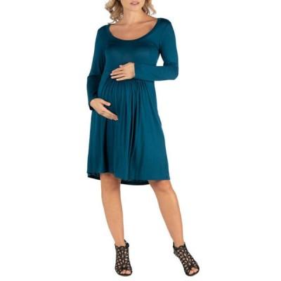 24セブンコンフォート レディース ワンピース トップス Women's Maternity Knee Length Pleated Long Sleeve Dress
