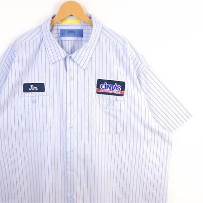 古着 超大きいサイズ CINTAS ワッペン付き 半袖ワークシャツ 作業着 カジュアル メンズ US-5XL SSサイズ ストライプ柄 サックスブルー系 tn-0102n
