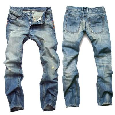 メンズ ジーンズ デニムパンツ ジーパン  ロング丈  ウォッシュ  ストレッチ   大きいサイズ   ビンテージ加工  欧米風