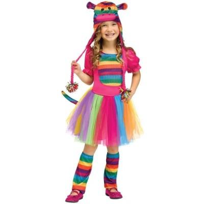 レインボー ソックモンキー 幼児用 コスチューム 申年 虹色 サル 猿 カラフル 衣装 コスプレ