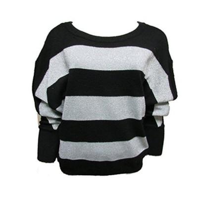 INC International Concepts Women's Striped Sweater PL Black Silver並行輸入品 送料無