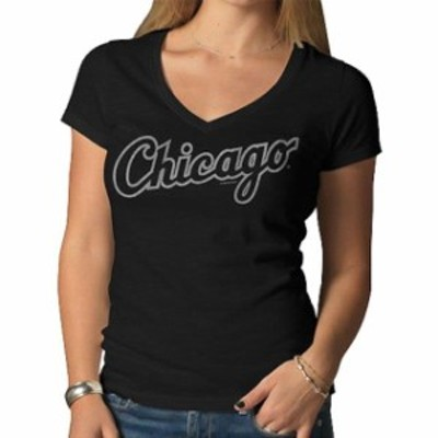 47 フォーティーセブン スポーツ用品  47 Chicago White Sox Womens Black Team Name V-Neck T-Shirt