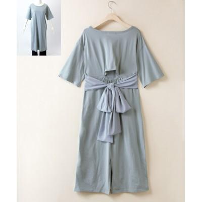 大きいサイズ バック背中あきリボンワンピース ,スマイルランド, ワンピース, plus size dress