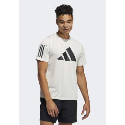 アディダス メンズ スポーツ用品 FLEECE 3 BAR TEE DESIGNED4TRAINING PRIMEGREEN TRAINING WORKOUT T-SHIRT - Print T-shirt - white