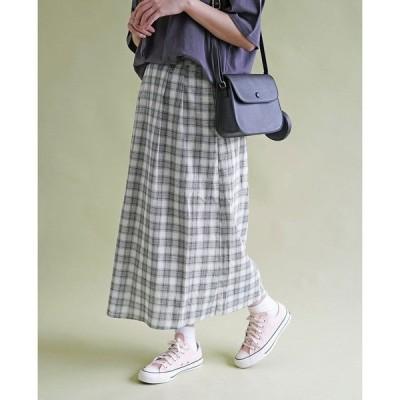 スカート チェックロングギャザースカート