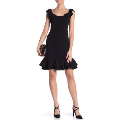 ナネットレポー レディース ワンピース トップス Short Sleeve Flounce Hem Sheath Dress BLACK