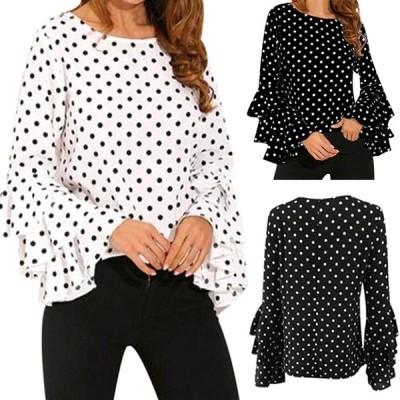 コーラス衣装 コーラスブラウス 衣装 MからXXXLサイズ対応 ジョーゼット地シンプル水玉ブラウス 袖部分三段フリルそで 白 黒