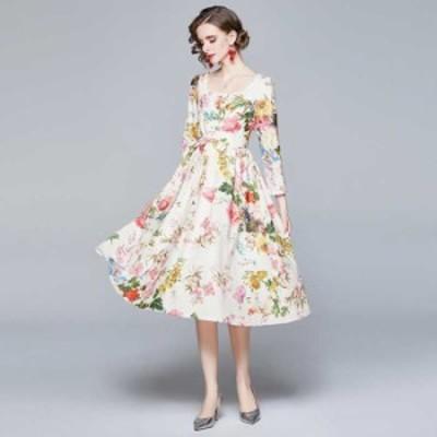 予約商品 大きいサイズ レディース スクエアネック 花柄プリントドレスワンピース パーティードレスオーバーサイズ 韓国ファッション ビ