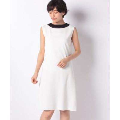 【マダム ジョコンダ】 透明糸使いゴム編みワンピース レディース ホワイト 40 MADAM JOCONDE