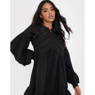 インザスタイル レディース ワンピース トップス In The Style x Lorna Luxe volume sleeve button front mini smock dress in black Black