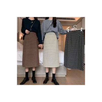【送料無料】スカート レディース 年 秋 韓国風 ハイウエスト 着やせ 裾 ポルカドット   364331_A63630-2783673