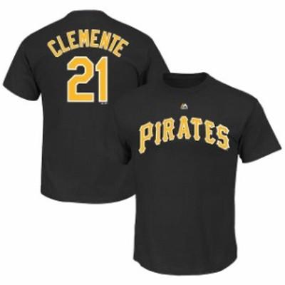 Majestic マジェスティック スポーツ用品  Roberto Clemente Pittsburgh Pirates Black Big & Tall Cooperstown Name & Nu