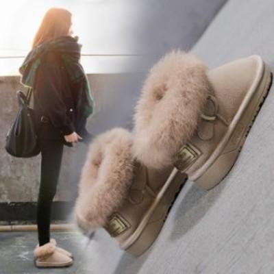 即納 ムートンブーツ ショートブーツ レディース 防寒 ムートン ブーツ 靴 シューズ 裏起毛 厚底 暖かい かわいい ウィンターブーツ おし