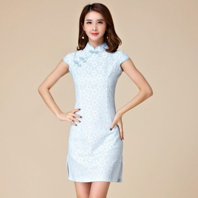 パーティードレス 大きいサイズ ぽっちゃり 送料無料 結婚式 ワンピース チャイナドレス 裾スリットのレースドレス フォーマル M/L/2L/3L/4L 9884