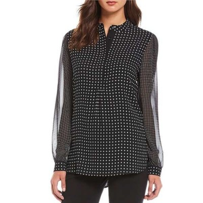 アンクライン レディース シャツ トップス Mixed Dot Print Georgette Long Sleeve Blouse Black/White