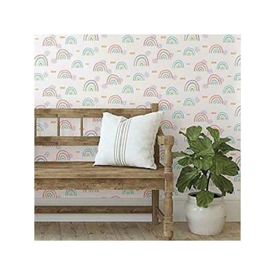 (新品)  RoomMates RMK11731RL Pink Rainbow's End Peel and Stick Wallpaper