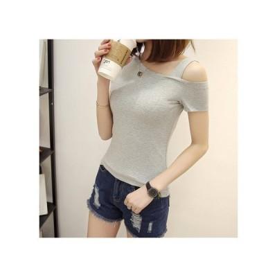 レディースTシャツ肩出しワンショルダー大人春夏かわいいシックベーシックタイト半袖wear.com