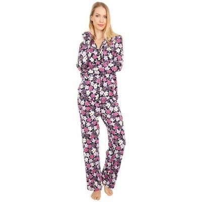 ケイト スペード ナイトウェア アンダーウェア レディース Modal Jersey Notch Collar Long Pajama Set Painted Pansy