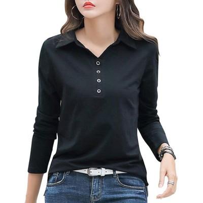 ASHERANGEL ポロシャツ レディース 長袖 無地 綿 襟付き ボタン付き Tシャツ カットソー トップス 通気 吸汗速乾 UVカット ゆったり