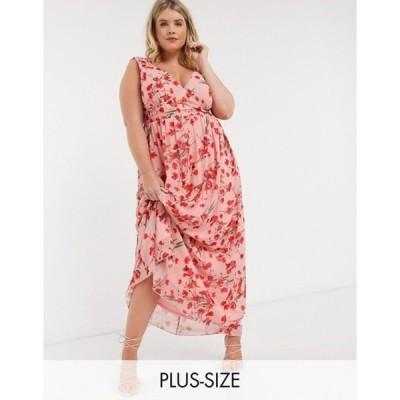 リトルミストレス レディース ワンピース トップス Little Mistress Plus plunge maxi dress in poppy print