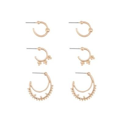 エリアスターズ レディース ピアス&イヤリング アクセサリー Novelty Crescent Earrings Set - Set of 3 GOLD