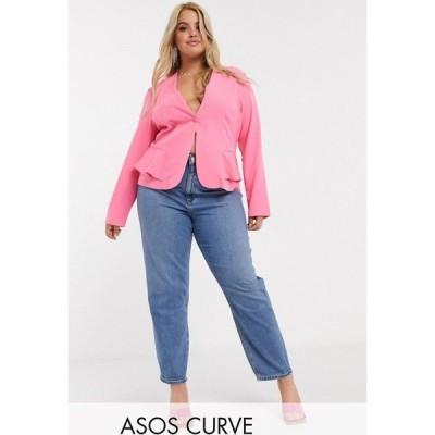 エイソス ASOS Curve レディース ジーンズ・デニム ボトムス・パンツ ASOS DESIGN Curve Recycled Farleigh high waist slim mom jeans in mid vintage wash
