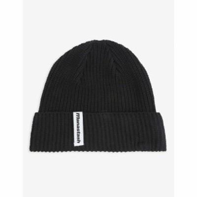 マナスタッシュ MANASTASH メンズ ニット ビーニー 帽子 Ribbed recycled cotton-knit beanie BLACK