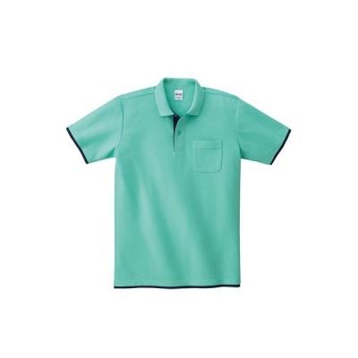 レイヤードポロシャツ ポケットあり プリントなし  (195byp-muji)   無地 ウェアのみ お揃い 重ね着風 カフェ 店舗 スタッフ ユニフォーム 移動着