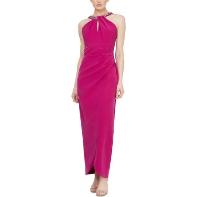 SL ファッションズ SL Fashions レディース パーティードレス ワンピース・ドレス Petite Embellished Halter Gown Fushia Pink