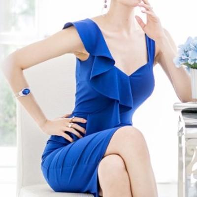 ワンピ ブルー キャバ スクエアネック 個性的 ワンピース ハイウエスト ノースリーブ 韓国 フリル 女子会 韓国スタイル シンプル ドレス
