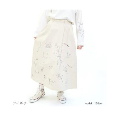 (RM STORE/アールエムストア)刺繍入りツイルスカート/レディース アイボリー