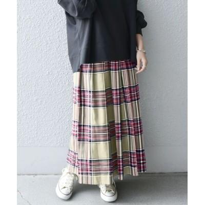 SHIPS for women / SHIPS any: ランダムタック チェック ソフト フレアスカート◆ WOMEN スカート > スカート