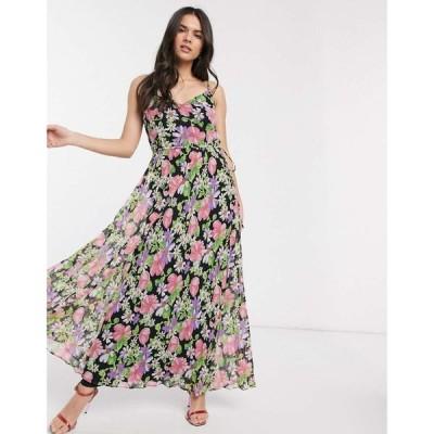 エイソス ASOS DESIGN レディース ワンピース キャミワンピ ワンピース・ドレス pleated cami maxi dress with drawstring waist in dark floral print