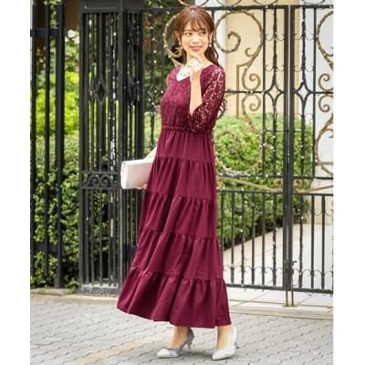 【結婚式。お呼ばれ。二次会】レース切替ティアードスカートワンピースドレス<大きいサイズ有> ,スマイルランド, 【謝恩会・パーティドレス】Dress