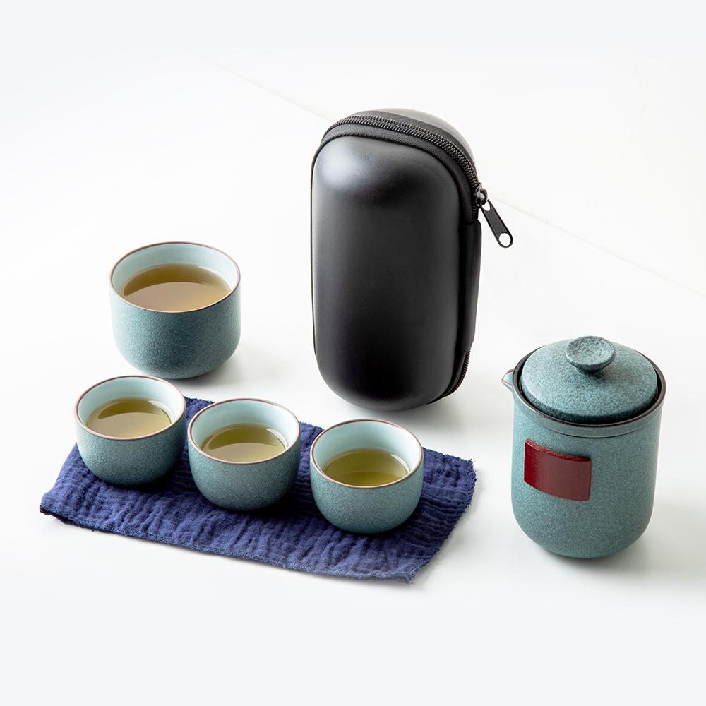 功夫茶具 便攜收納盒杯壺組 一壺四杯 陶瓷 旅行茶具 茶漏 茶壺 隨身壺 快客杯 泡茶組 隨行茶具組 戶外 品茶旅行組 餐廚用品 露營用品