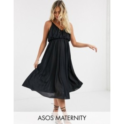 エイソス レディース ワンピース トップス ASOS DESIGN Maternity cami plunge midi dress with blouson top in black Black
