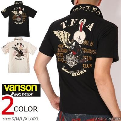 バンソン VANSON クローズ WORST デスラビットウィング 半袖ポロシャツ CRV-927 刺繍 ワッペン CROWS ワースト